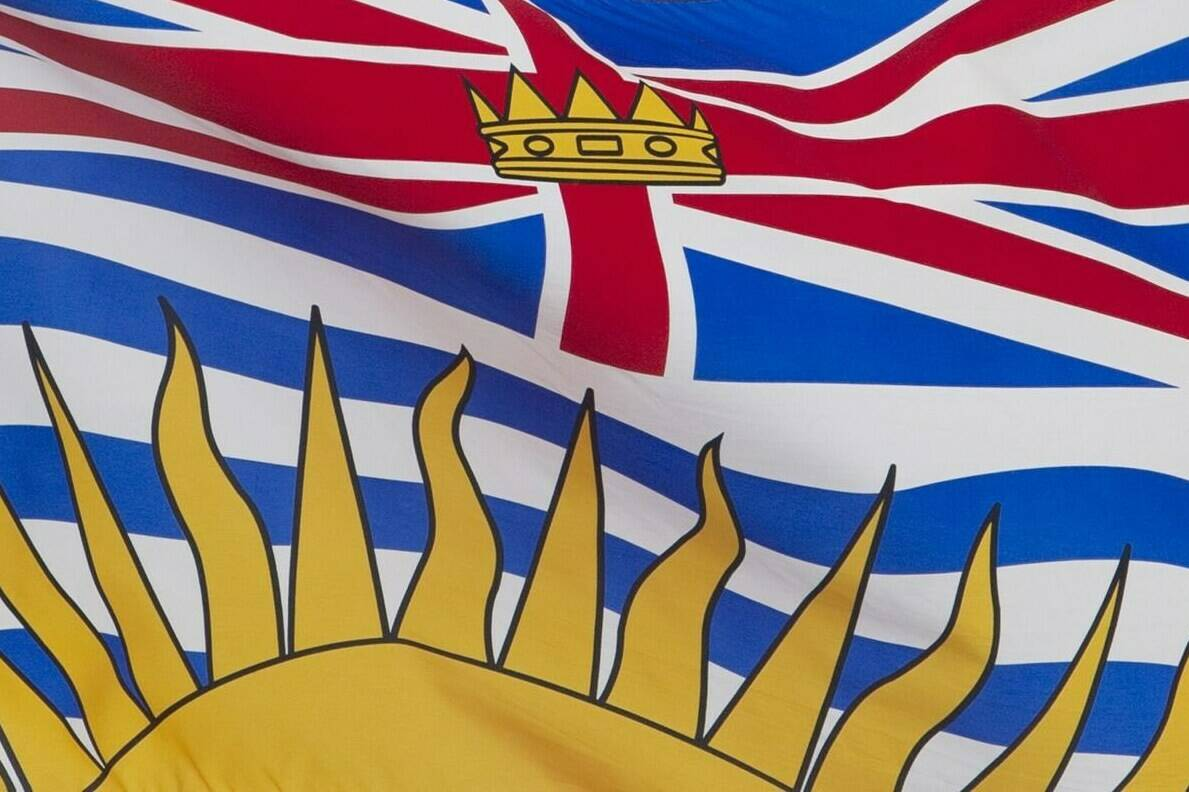 British Columbia's provincial flag flies on a flag pole in Ottawa, Friday July 3, 2020. A British Columbia health authority says it is facing a severe nursing shortage in a northern city as staff face criticism from COVID-19 protesters. THE CANADIAN PRESS/Adrian Wyld