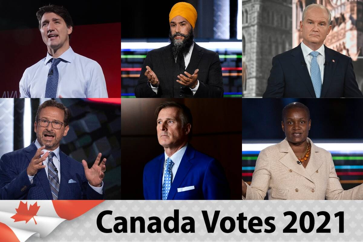From top left: Justin Trudeau (Liberal), Jagmeet Singh (NDP), Erin O'Toole (Conservative). From bottom left: Yves-Francois Blanchet (Bloc Quebecois), Maxime Bernier (PPC), Annamie Paul (Green). (Canadian Press photos)