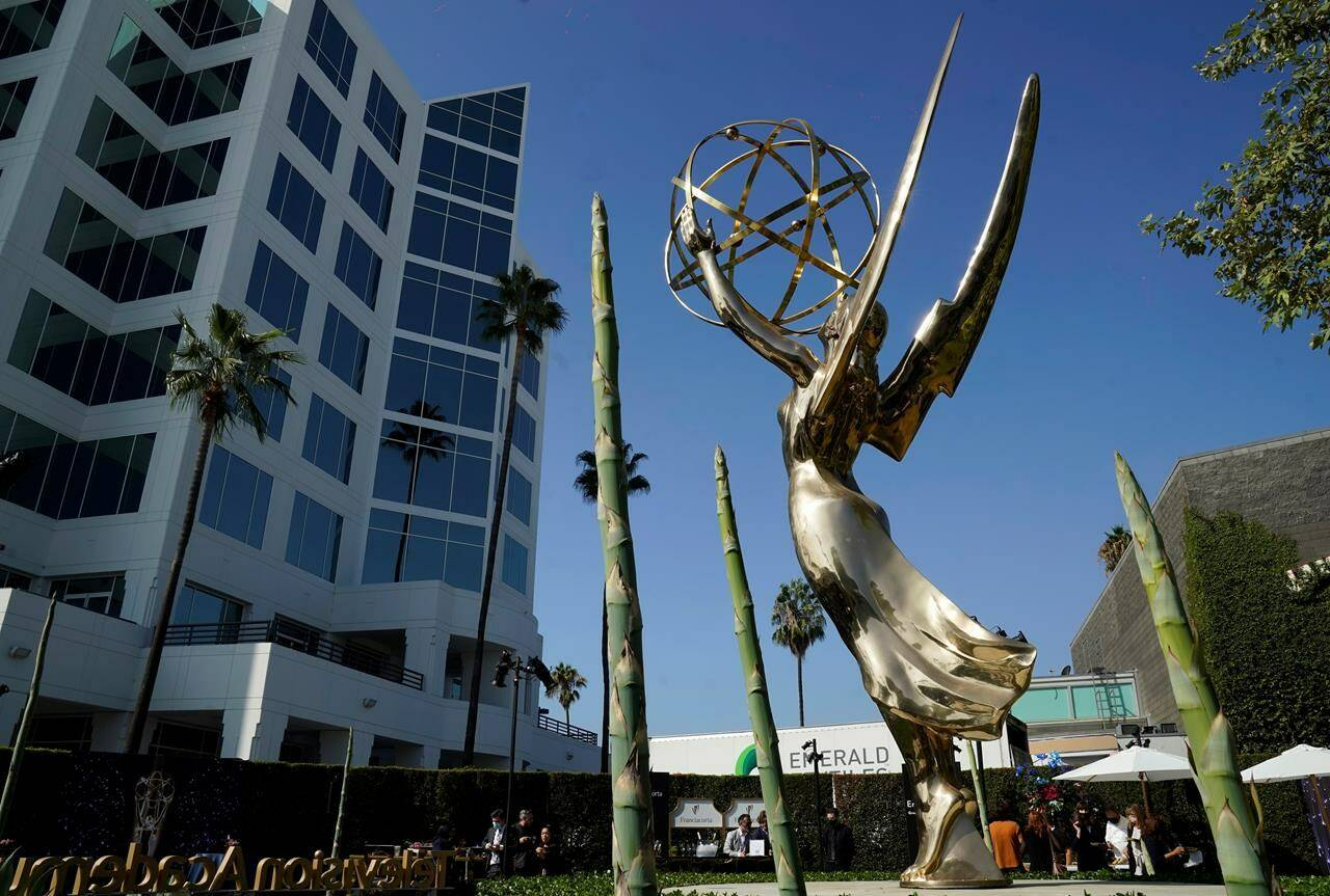 An Emmy statue is pictured during Press Preview Day for the 73rd Primetime Emmy Awards, Wednesday, Sept. 14, 2021, at the Television Academy in Los Angeles. The awards show honoring excellence in American television programming will be held on Sunday at the Event Deck at L.A. Live. (AP Photo/Chris Pizzello)