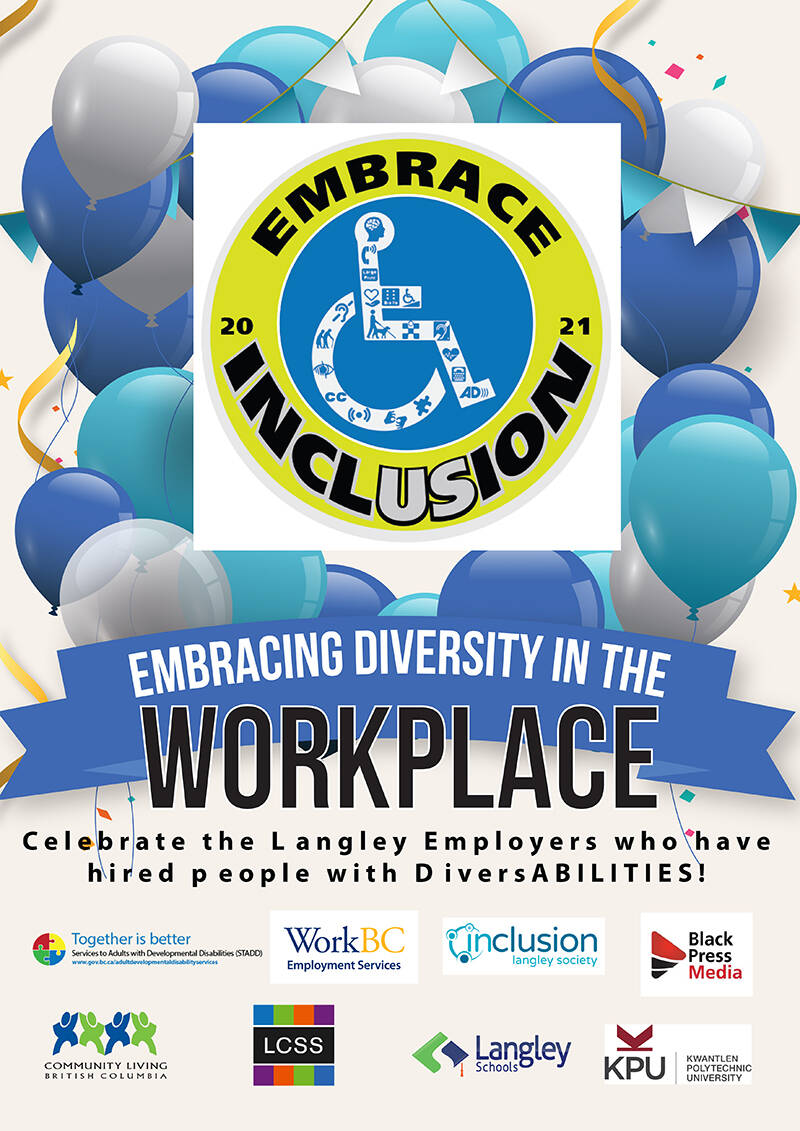 EMBRACE INCLUSION campaigns in Langley and Maple Ridge actively promote hiring people with diverse abilities for a more inclusive workforce.