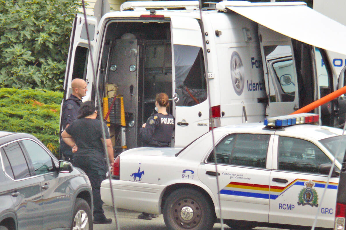 Police remained at the scene of Naomi Onotera's Langley City home on Monday, Sept. 20. (Dan Ferguson/Langley Advance Times)