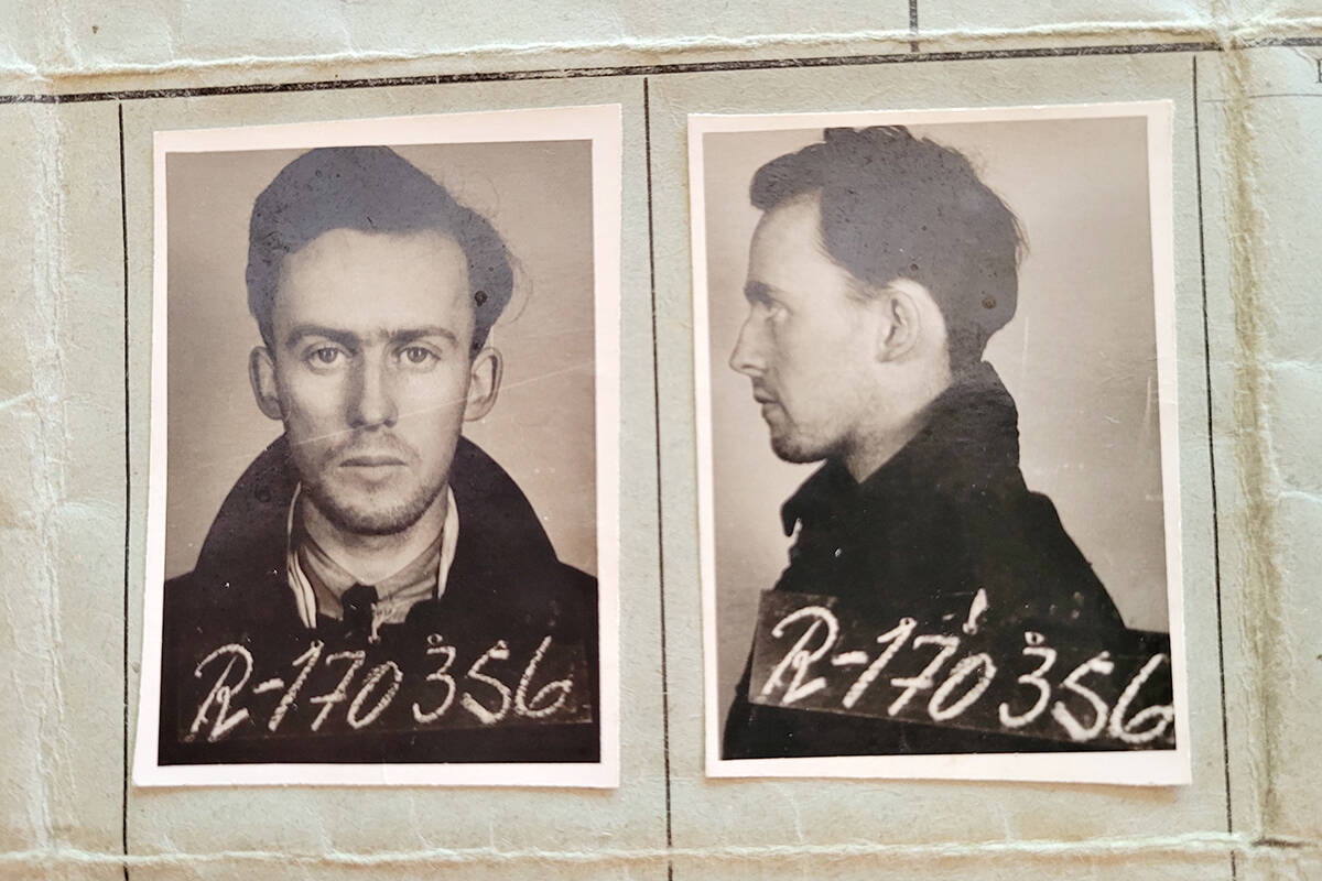 Dick Deck's German prisoner of war record. During the Second World War, he was a bomb aimer in an aircraft that was shot down over Germany. (Special to Langley Advance Times)