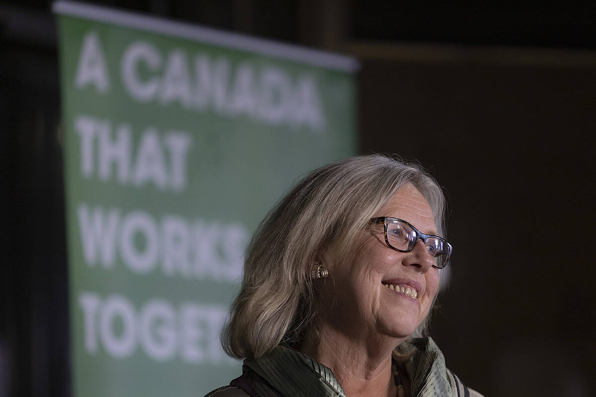 Elizabeth May at the Green Party headquarters in Saanich. (Arnold Lim/Black Press Media)