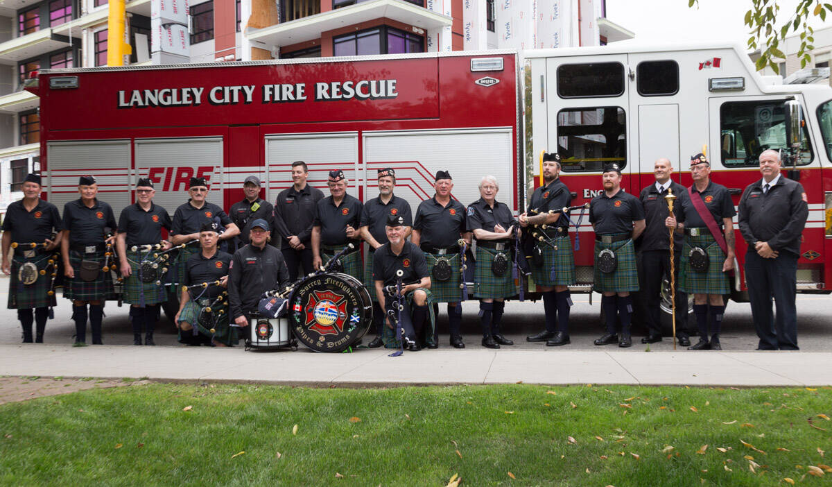 Surrey Firefighters Pipes & Drums band visited Douglas Park in Langley City on Sept. 11, 2021 to commemorate the 20th anniversary of 9/11, where Langley City firefighters also paid tribute. (Rosemary Wallace/Special to Langley Advance Times)