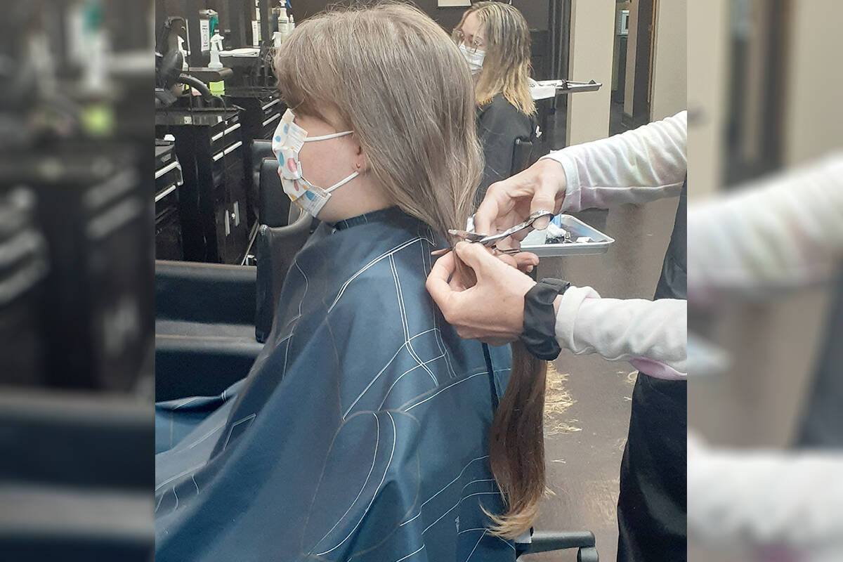 Seven-year-old Averie Janzen donated 12 inches of her hair to make wigs for cancer patients. It took the Langley girl a year and a half to grow it out. (Linda Colpitts/Special to Langley Advance Times)