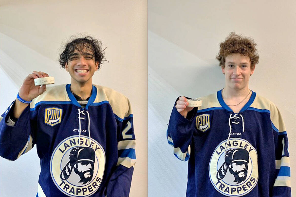 Bicky Gundarah (L) and Jacob Zaurrini scored their first PJHL career goals on Sunday, Sept. 19 as the Langey Trappers downed the Chilliwack Jets. (Trappers)