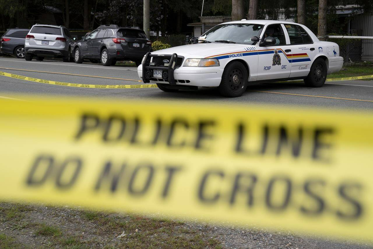 RCMP attend a serious incident in Langley, B.C., on October 8, 2020. THE CANADIAN PRESS/Jonathan Hayward