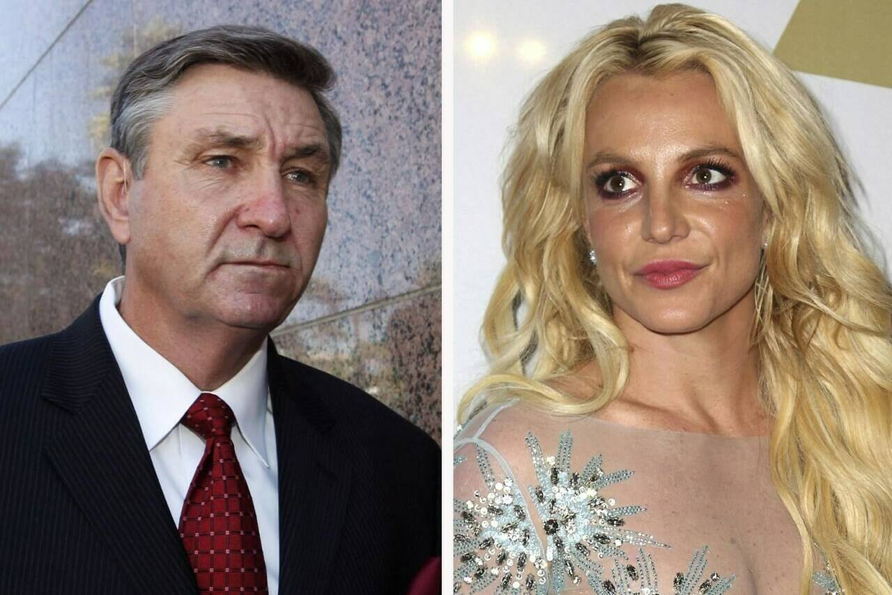 FILE - This combination photo shows Jamie Spears, left, father of Britney Spears, as he leaves the Stanley Mosk Courthouse on Oct. 24, 2012, in Los Angeles and Britney Spears at the Clive Davis and The Recording Academy Pre-Grammy Gala on Feb. 11, 2017, in Beverly Hills, Calif. Britney Spears' father has filed to end the court conservatorship that has controlled the singer's life and money for 13 years. James Spears filed his petition to end the conservatorship in Los Angeles Superior Court on Tuesday, Sept. 7, 2021. (AP Photo/File)