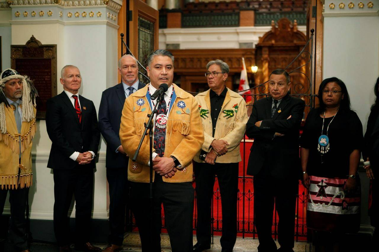 Regional Chief Terry Teegee speaks to the press after Premier John Horgan announced Indigenous human rights will be recognized in B.C. with new legislation during a press conference at the provincial Legislature in Victoria on October 24, 2019. THE CANADIAN PRESS/Chad Hipolito