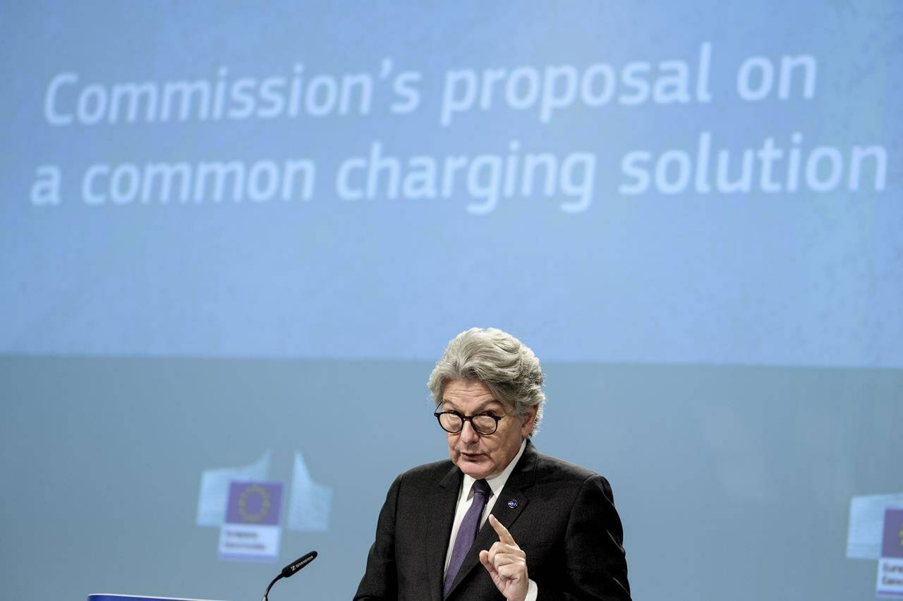 European Commissioner for Internal Market Thierry Breton speaks during a media conference on a common charging solution for mobile phones at EU headquarters in Brussels, Thursday, Sept. 23, 2021. The European Union unveiled plans Thursday that would require smartphone makers to adopt a single charging method for mobile devices. (AP Photo/Thierry Monasse)
