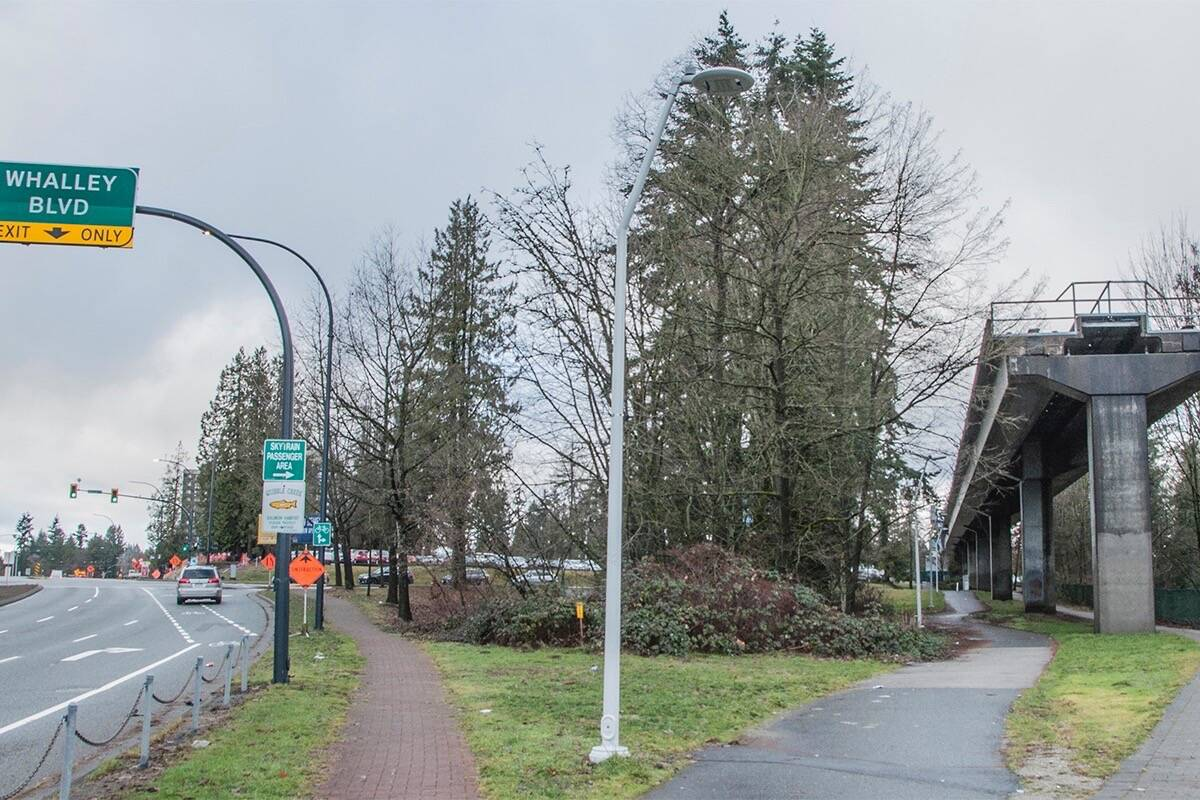SkyTrain's end of the line, for now, in Whalley. (File photo)