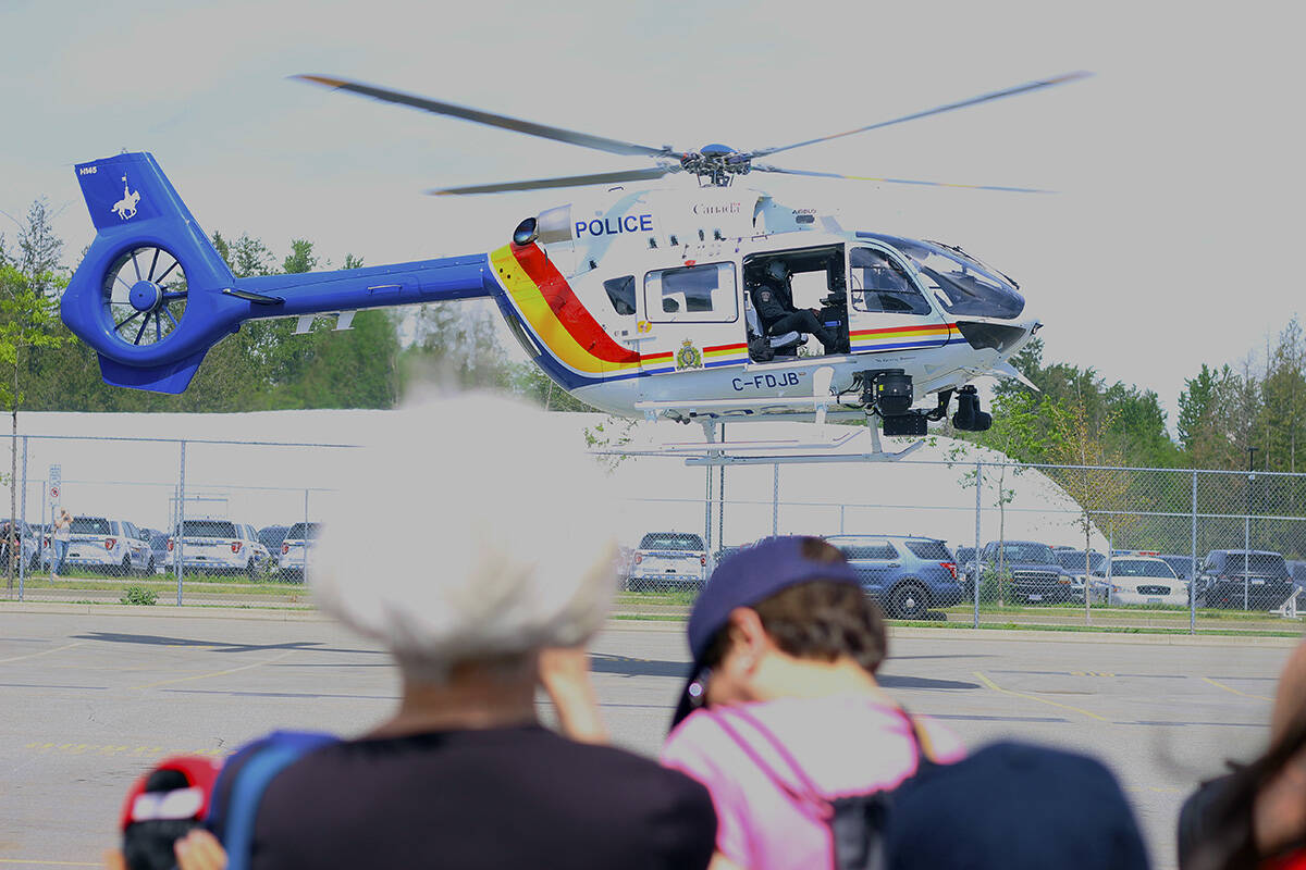 Air 1 touches down at an RCMP Open House in 2019. Mounties say Air 1 aided in the arrest of Gurkaran Sandhu, 19, after he allegedly fled from police in Cloverdale Sept. 16. (Photo: Lauren Collins)