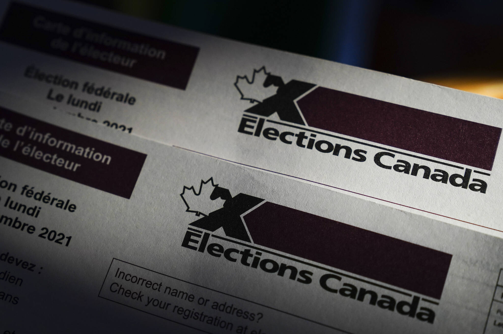 An Elections Canada voter information card is shown on Tuesday, Aug 31, 2021. Canadians are at the polls for the federal election today, September 20, 2021. THE CANADIAN PRESS/Sean Kilpatrick
