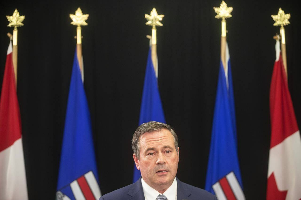 Alberta Premier Jason Kenney gives a COVID-19 update in Edmonton on Tuesday, Sept. 21, 2021. THE CANADIAN PRESS/Jason Franson