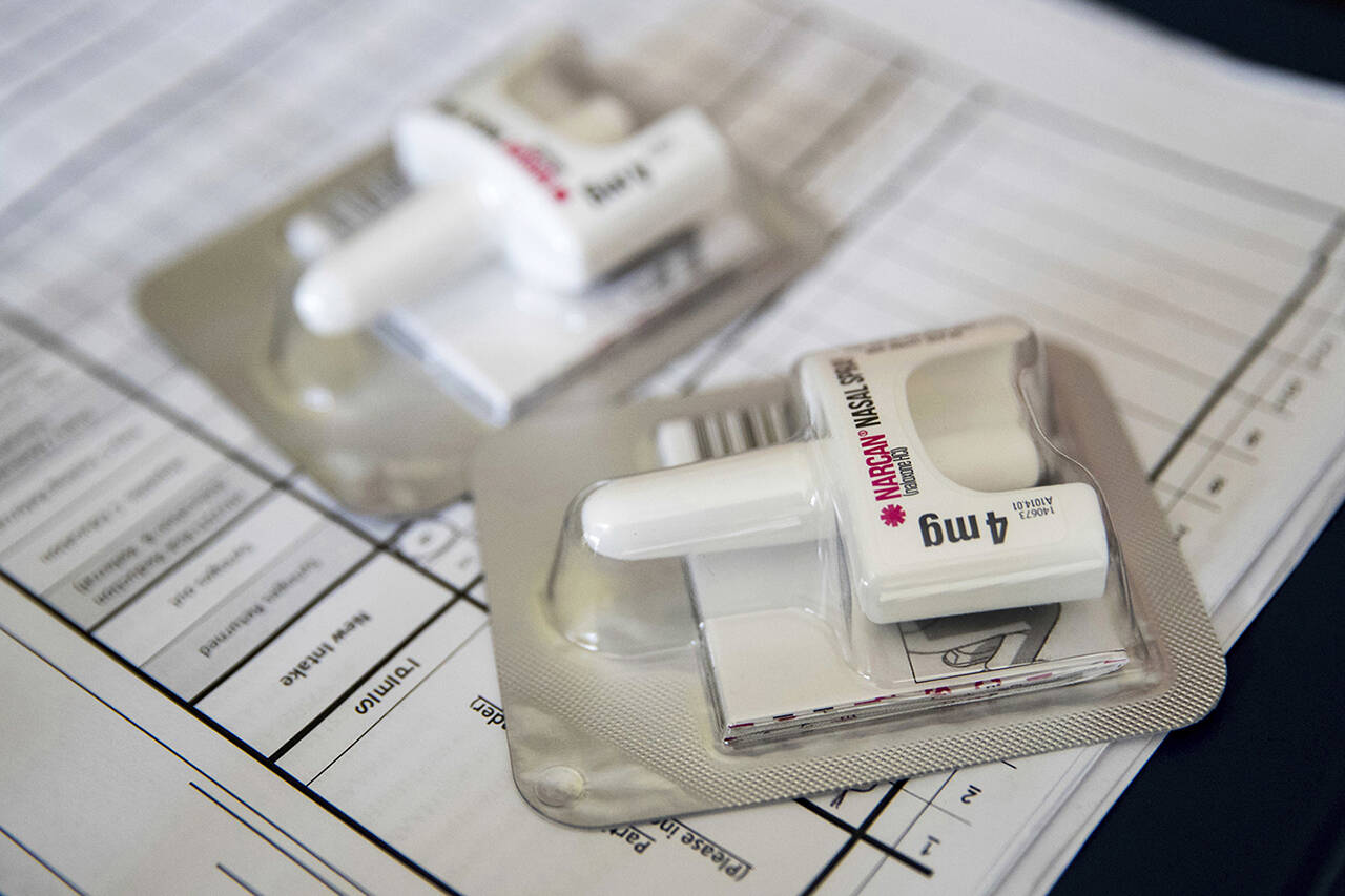This photo shows a Narcan nasal device. (AP File Photo/Mary Altaffer)