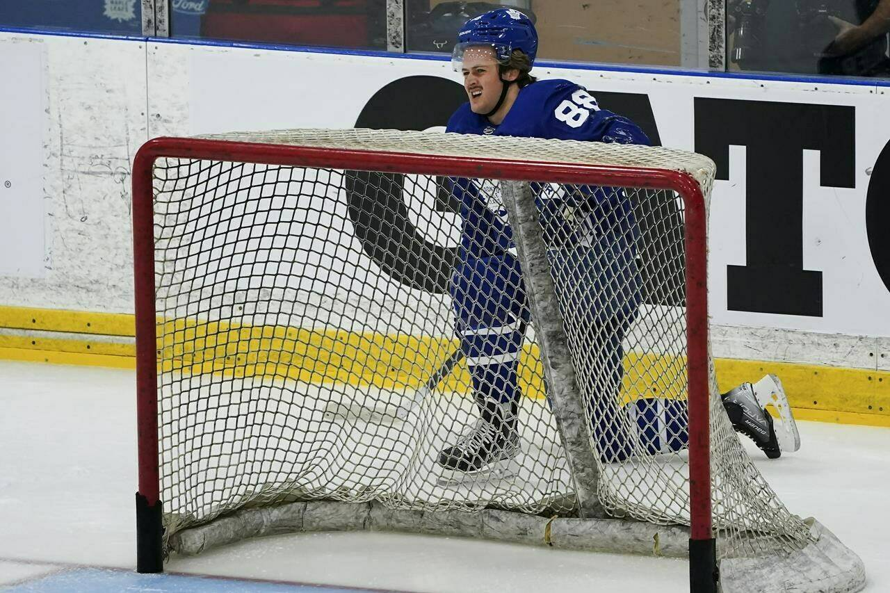 Toronto Maple Leafs forward William Nylander catches his breath behind the net during their NHL training camp in Toronto on Thursday, September 23, 2021. THE CANADIAN PRESS/Nathan Denette
