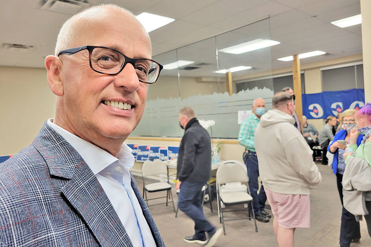 Conservative incumbent Tako van Popta celebrated his win at campaign headquarters Monday night, saying it was a honour to be given a second term as MP for Langley – Aldergrove. (Dan Ferguson/Langley Advance Times)