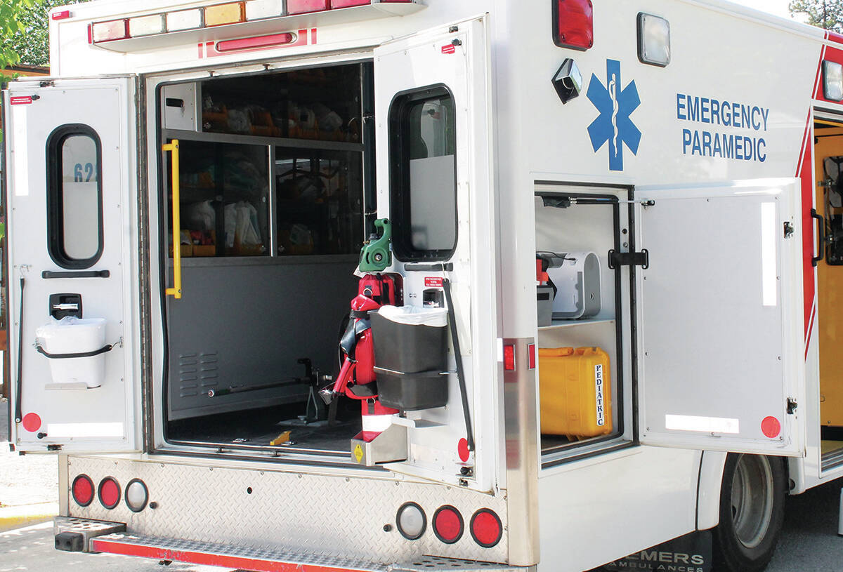 The back of a BC Emergency Health Services ground ambulance. (PQB News file photo)