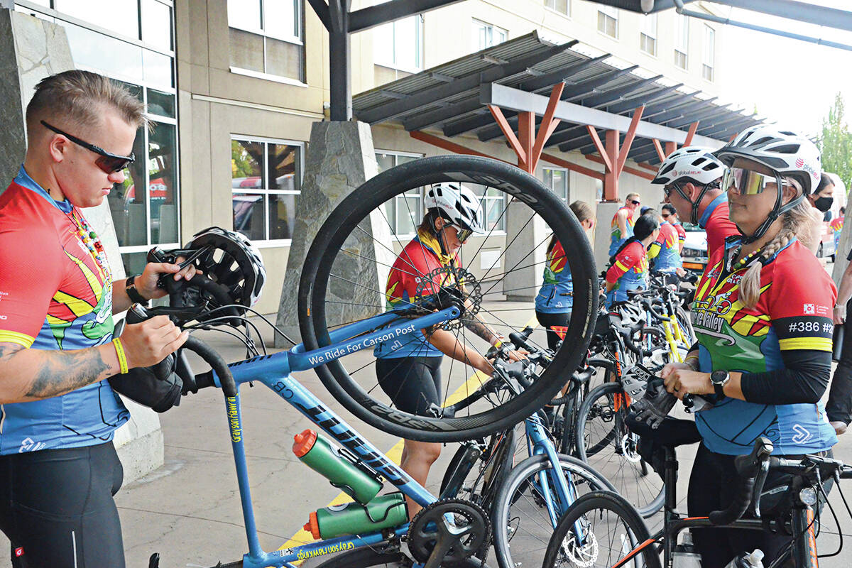 Tour de Valley riders got ready to ride after lunch at the Cascades Casino in Langley City on Thursday, Sept. 23. (Matthew Claxton/Langley Advance Times)
