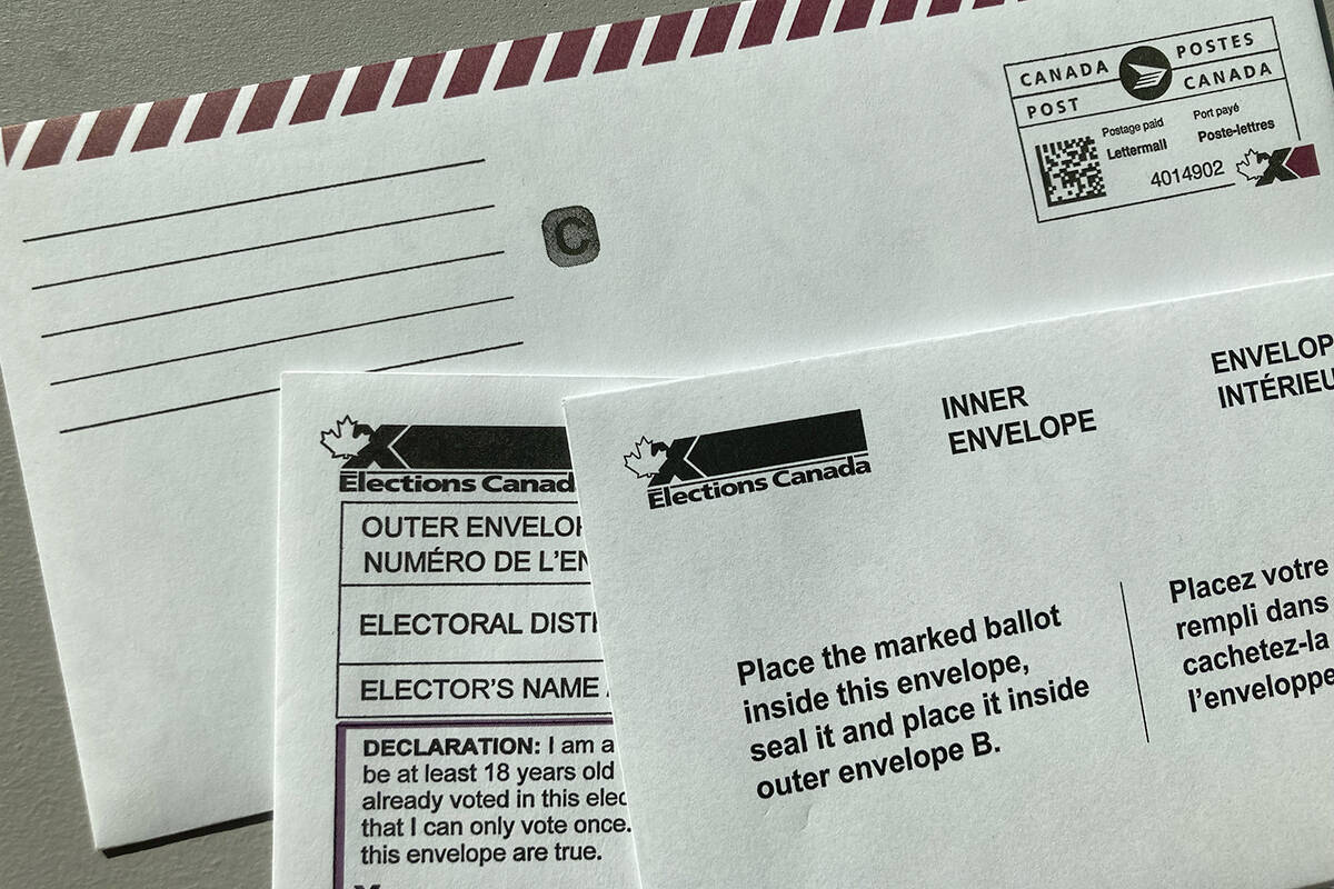 A mail-in ballot for the 2021 federal election. About a million people voted by mail in this election. (Black Press Media files)