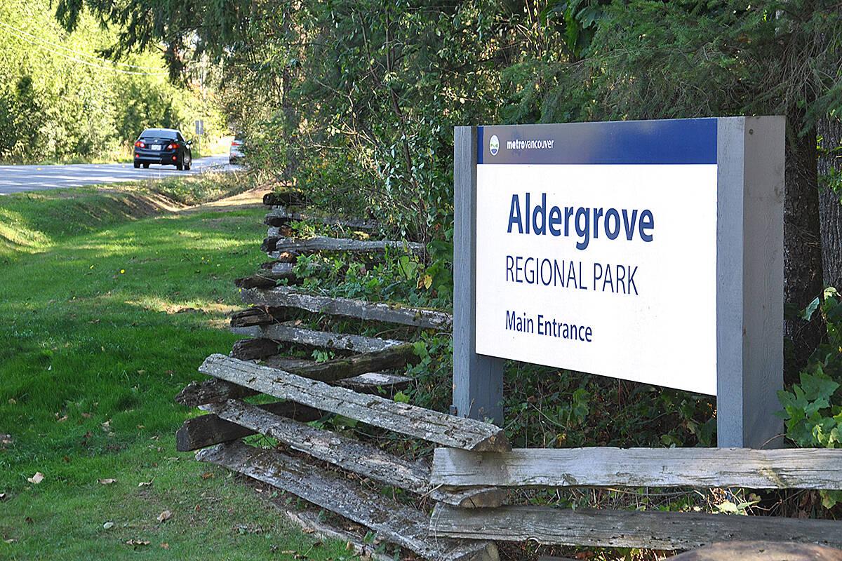The intersection near Aldergrove Regional Park will be single-lane on Friday night. (Black Press Media files)