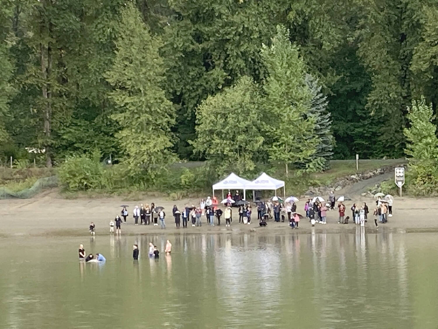 Wout Brouwer came upon this scene of people being baptised in the Fraser River on Sept. 19. (Special to the Langley Advance Times)