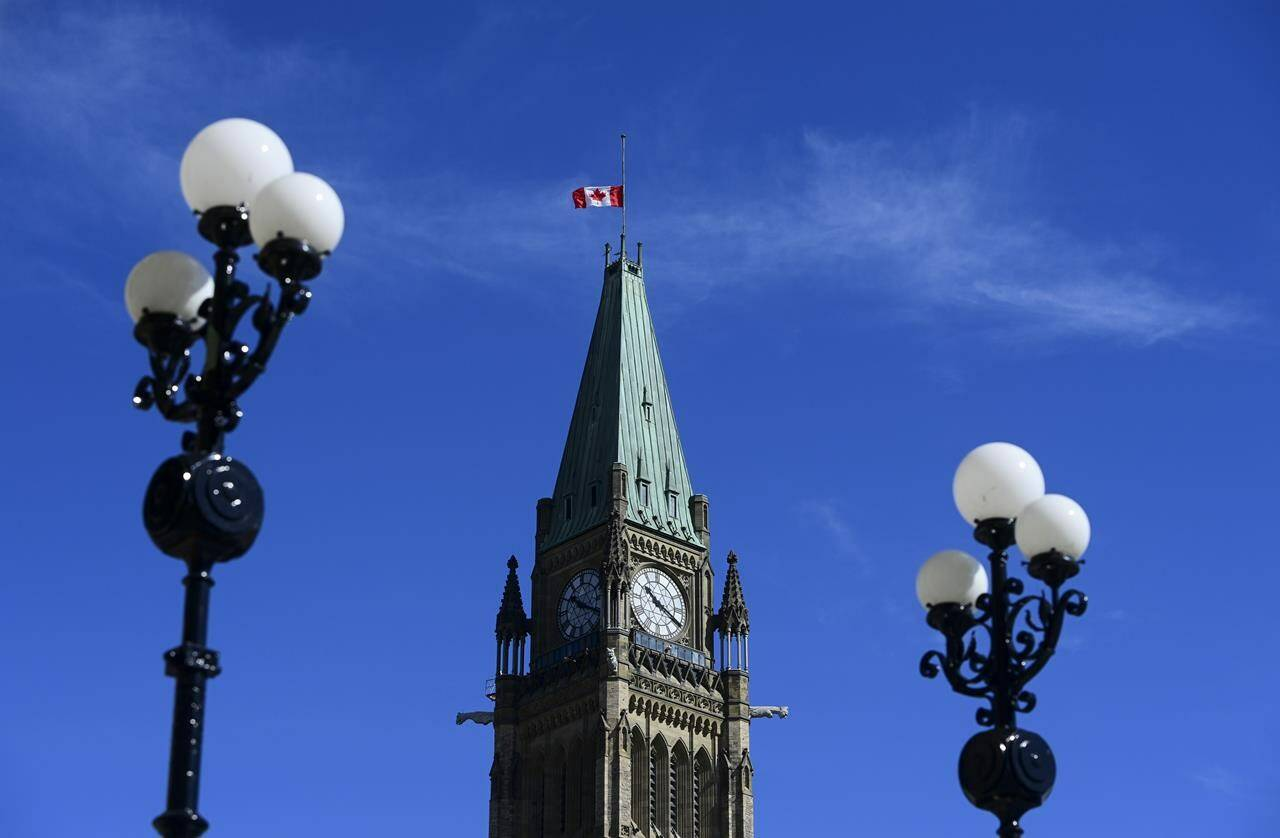 The Peace Tower on Parliament Hill is shown in Ottawa on April 12, 2021.THE CANADIAN PRESS/Sean Kilpatrick