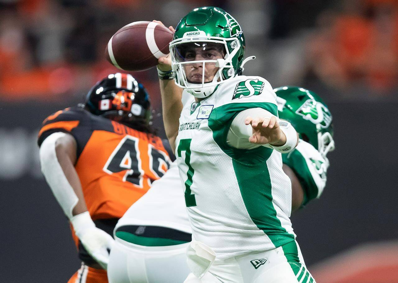 Saskatchewan Roughriders quarterback Cody Fajardo passes during the first half of a CFL football game against the B.C. Lions in Vancouver, on Friday, September 24, 2021. THE CANADIAN PRESS/Darryl Dyck