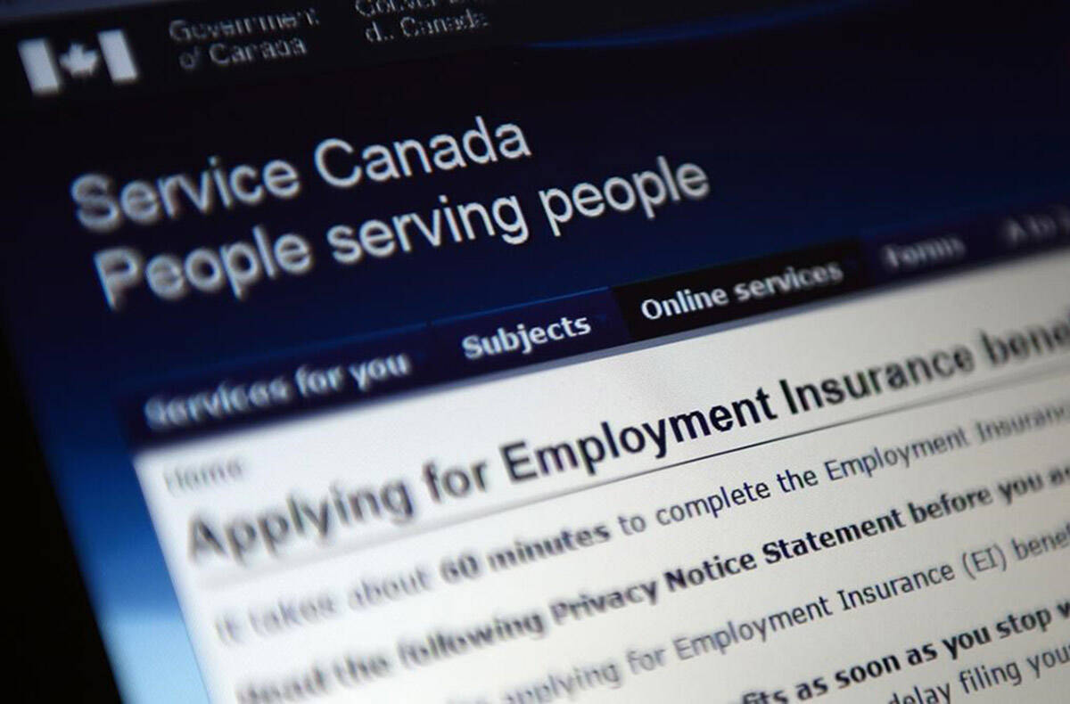 Canada Service centre documents that display Employment Insurance options are pictured in Ottawa on July 7, 2015. THE CANADIAN PRESS/Sean Kilpatrick