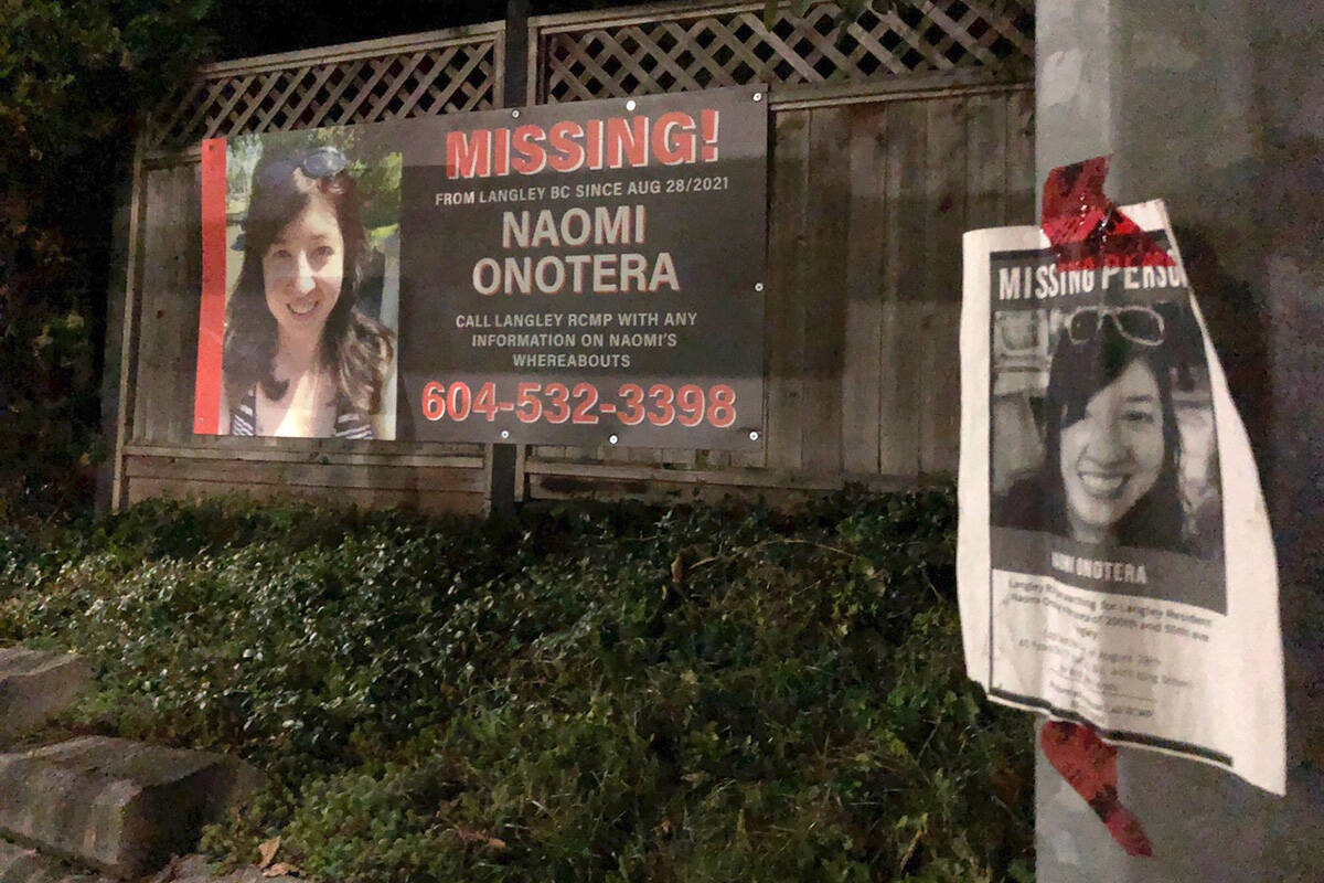 A sign appealing for help faces the home of missing Langley City woman Naomi Onotera. (Heather Colpitts/Langley Advance Times)