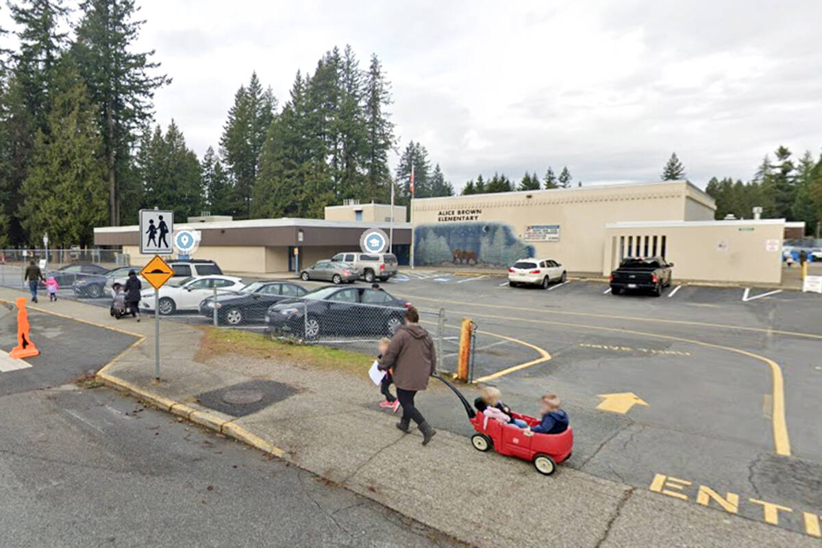 A possible COVID-19 exposure has been reported at Foxglove School Age Care, a licensed before- and after-school care centre at Alice Brown Elementary in Brookswood. (Undated Google Maps image)
