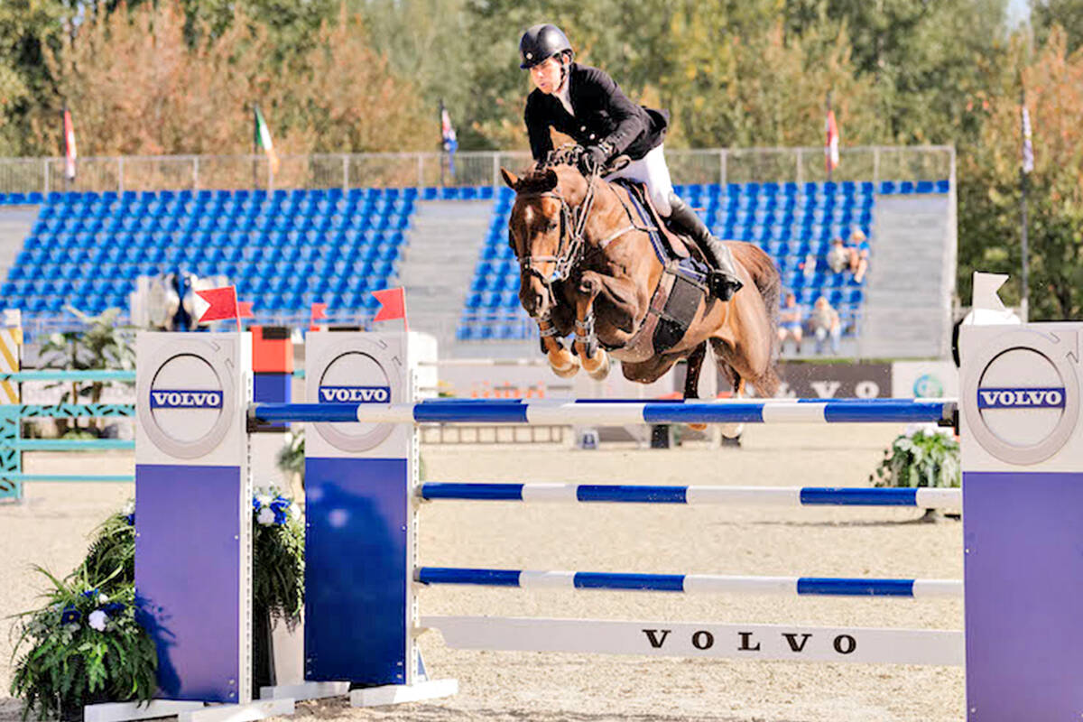 Conor Swail and Theo 160 were best in the $75,000 tbird Cup 1.50m. (Quinn Saunders/tbird)
