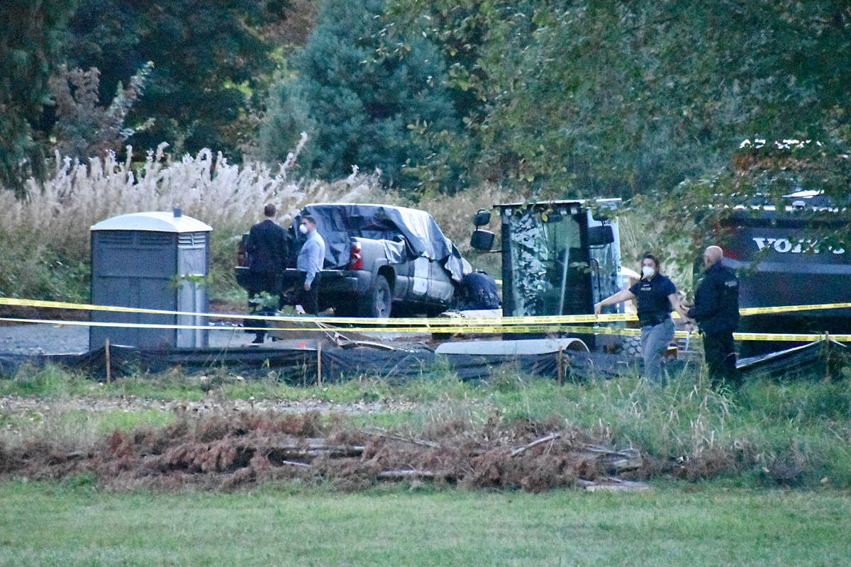 A body was discovered in a burnt-out truck in Maple Ridge early Saturday, Sept. 25. (Curtis Kreklau/South Fraser News Services)