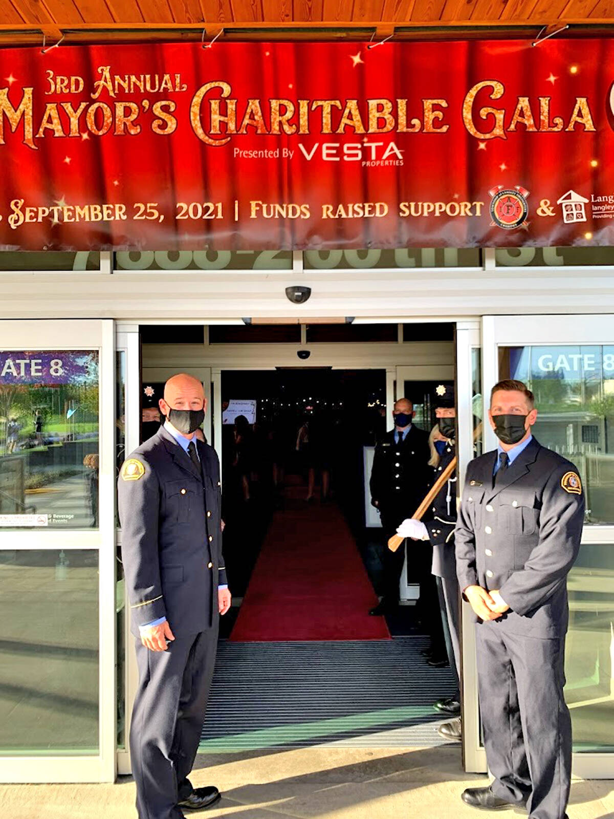 COVID precautions were in place at the third annual Mayor's Charitable Gala fundraiser at the Langley Events Centre Fieldhouse on Saturday, Sept. 25, with all participants vaccinated with at least one shot, the firefighters charity said. (Brad Peters/Special to Langley Advance Times)