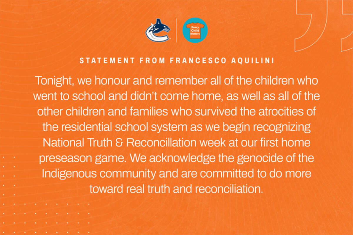 The Vancouver Canucks will will be recognizing National Day for Truth and Reconciliation at tonight's preseason game in Abbotsford. (Canucks photo)