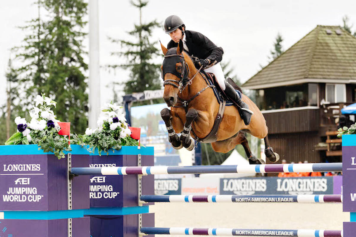 Conor Swail (IRL) and Vital Chance de la Roque won the $150,000 W Longines FEI Jumping World Cup Vancouver at Thunderbird Show Park in Langley on Sunday, Sept. 26. (tbird/Quinn Saunders)