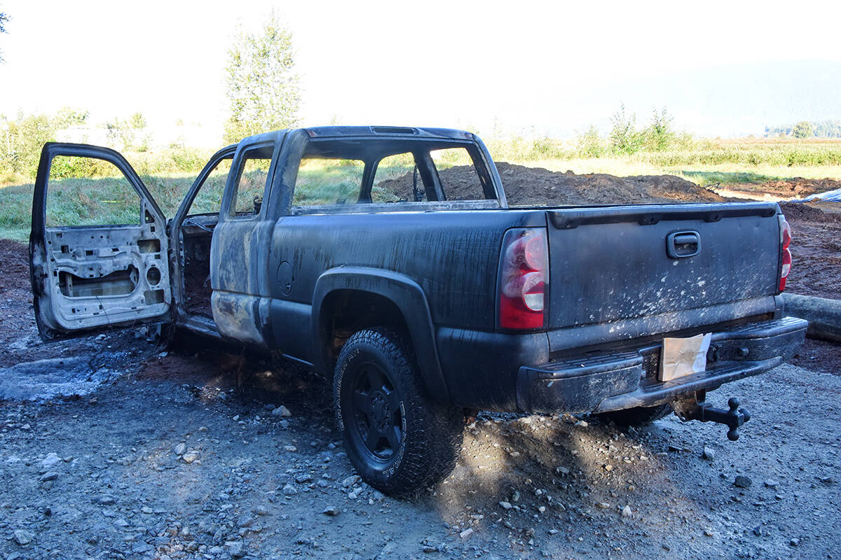 A burned Chevrolet Silverado was found with a body inside at approximately 1:30 a.m. on Saturday. (Special to The News)