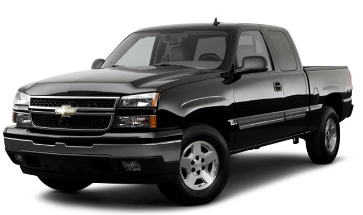 A stock photo of a black Chevrolet Silverado Extended Cab, like the one found burned in Maple Ridge on Saturday. (Special to The News)