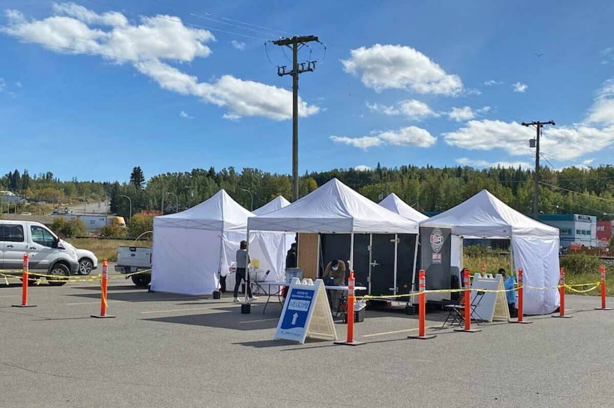 A mobile COVID-19 immunization clinic at the Co-op Food Store parking lot in Vanderhoof, Thursday, Sept. 16. Vanderhoof and other Northern Health communities have seen higher infection rates and lower vaccination than in urban B.C. (Four Rivers Co-operative Facebook photo)