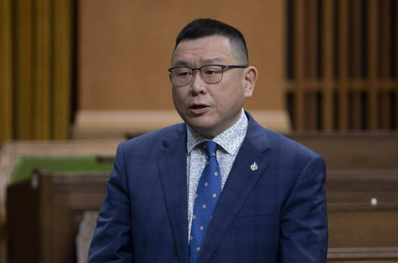 Conservative MP Kenny Chiu rises during Question Period in the House of Commons Tuesday April 13, 2021, in Ottawa. THE CANADIAN PRESS/Adrian Wyld