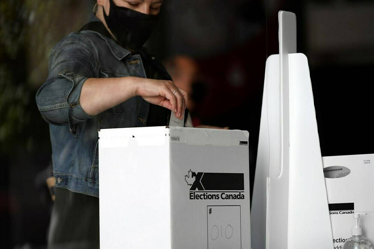 A voter casts their ballot at a polling location on election day during the 44th Canadian general election, on Monday, Sept. 20, 2021. THE CANADIAN PRESS/Justin Tang