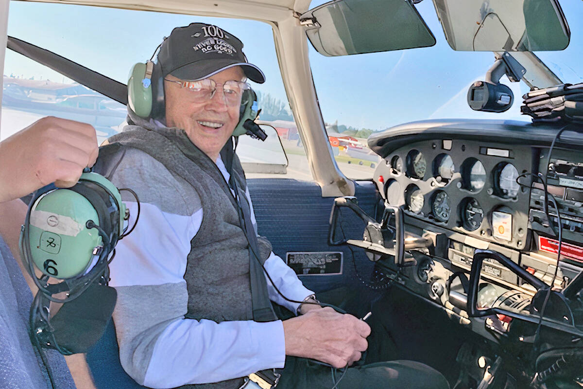 Adventurous senior Walter Martens took his first flying lesson as a 101st birthday present, taking off from the Langley airport on Saturday, Sept. 25. (Special to Langley Advance Times)