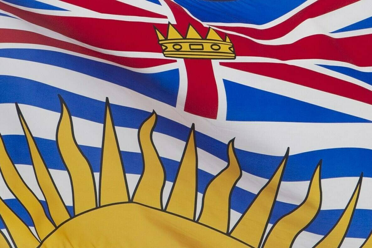 British Columbia's provincial flag flies on a flag pole in Ottawa, Friday July 3, 2020. Six candidates seeking to become the next leader of British Columbia's Liberal Party will face each other Tuesday in the campaign's first debate. THE CANADIAN PRESS/Adrian Wyld