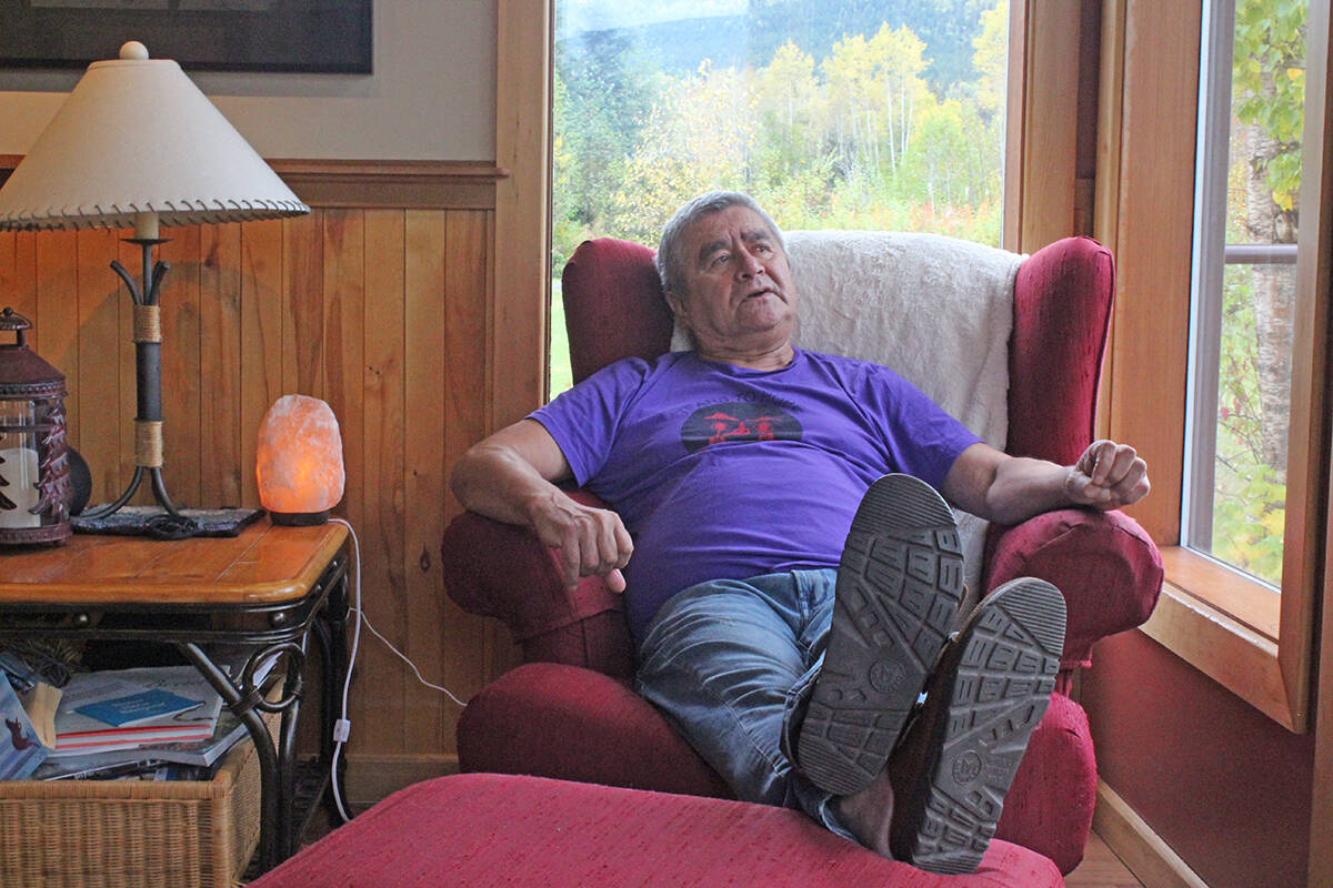 Roy Henry Vickers talks about art, residential schools, mourning and reconciliation at his home in the Kispiox Valley Sept. 24, 2021. (Thom Barker photo)
