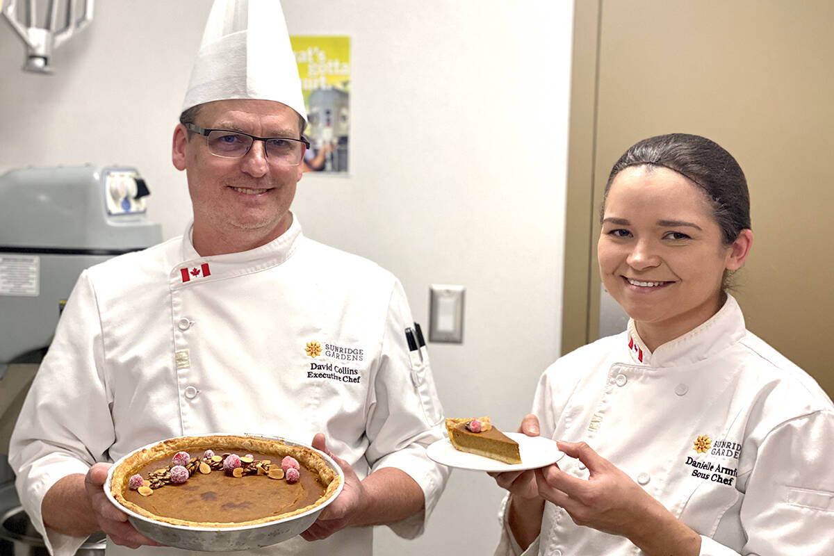 Bria's Sunridge Gardens chef David Collins and sous chef Danielle Armfeldt show the winning pie from a contest among area Bria facilities. (Bria/Special to the Langley Advance Times)