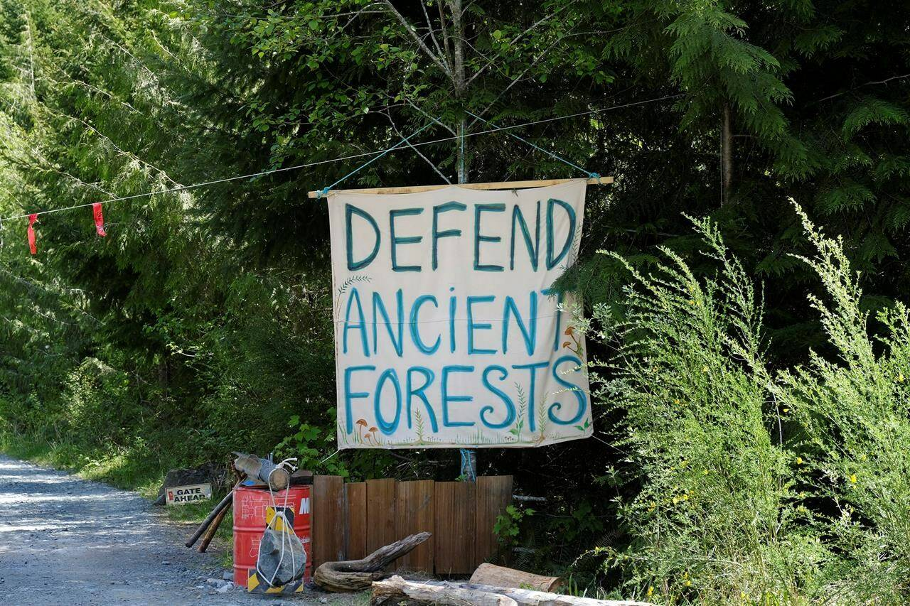 A sign is shown at the entrance to Eden blockade in the Fairy Creek area near Port Renfrew, B.C. on Tuesday, May, 11, 2021.�� THE CANADIAN PRESS/Jen Osborne