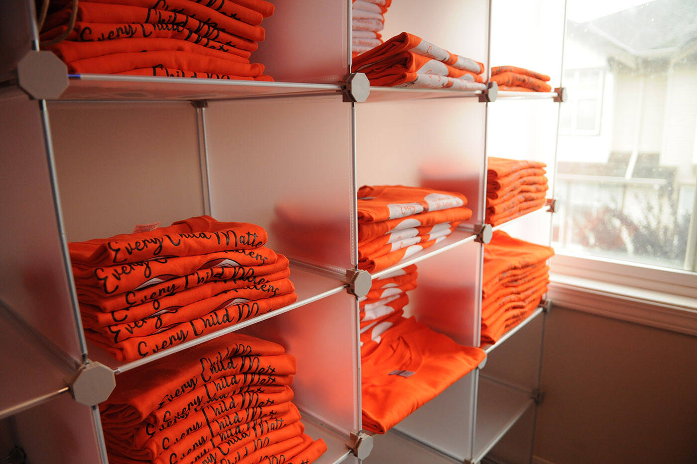 Shawn E. Baginski had almost 1,000 orange shirts printed. He sold all of them, without making a single cent in profit, and raised thousands of dollars for survivors of residential schools. (Jenna Hauck/ Chilliwack Progress)