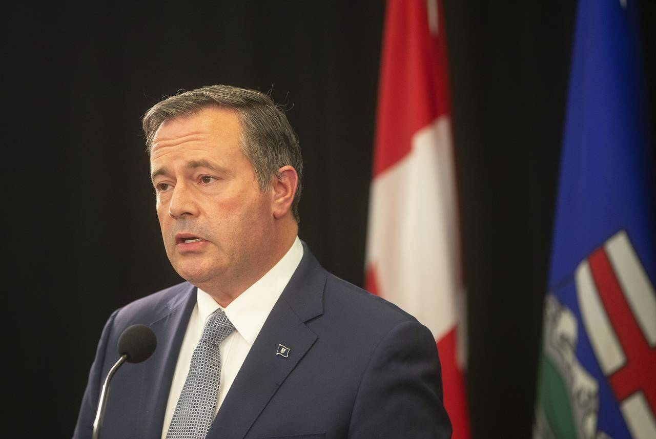 Alberta Premier Jason Kenney gives a COVID-19 update in Edmonton, Tuesday, Sept. 21, 2021. Kenney is set to speak to reporters later today as COVID-19 continues to surge in the province, pushing intensive care wards to the breaking point. THE CANADIAN PRESS/Jason Franson