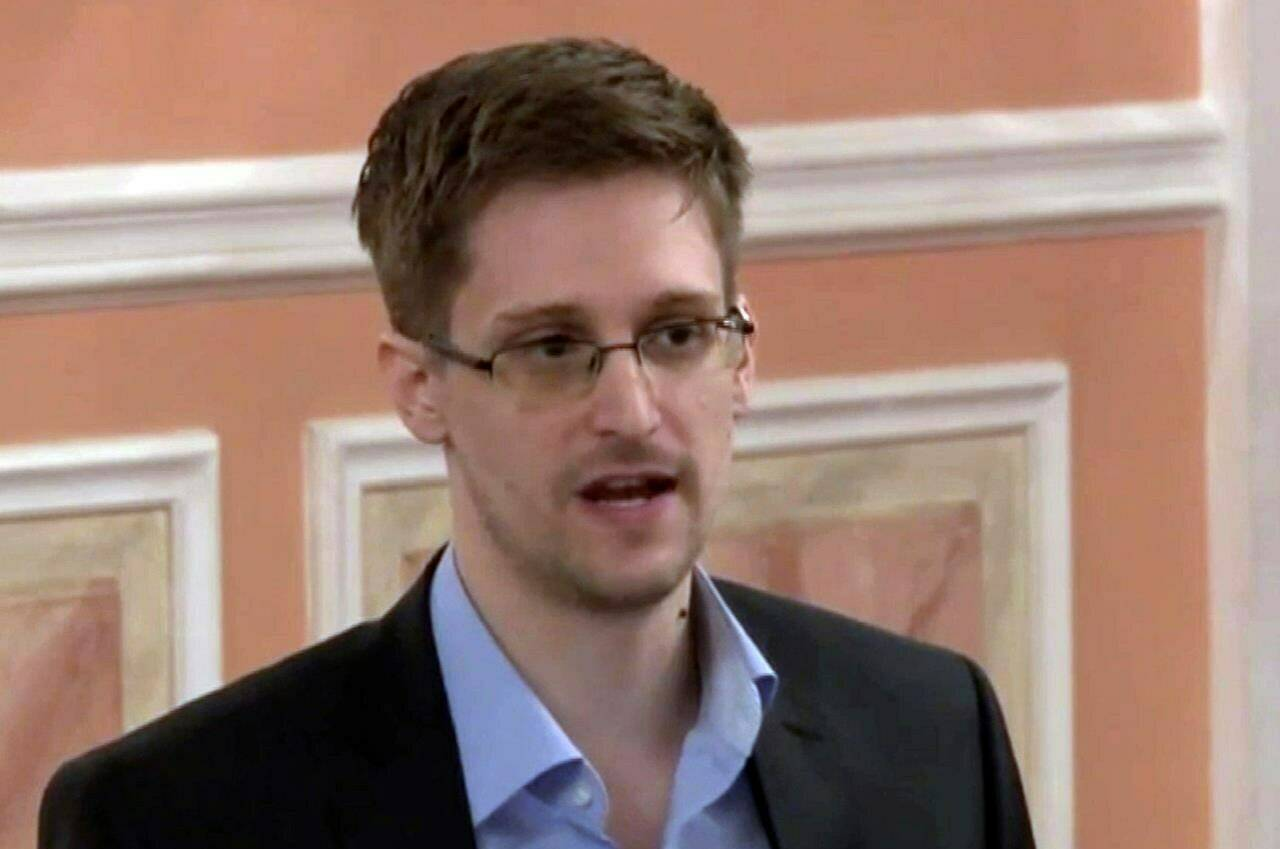 In this Oct. 11, 2013, file image made from video and released by WikiLeaks, former National Security Agency systems analyst Edward Snowden speaks in Moscow. THE CANADIAN PRESS/AP Photo, File