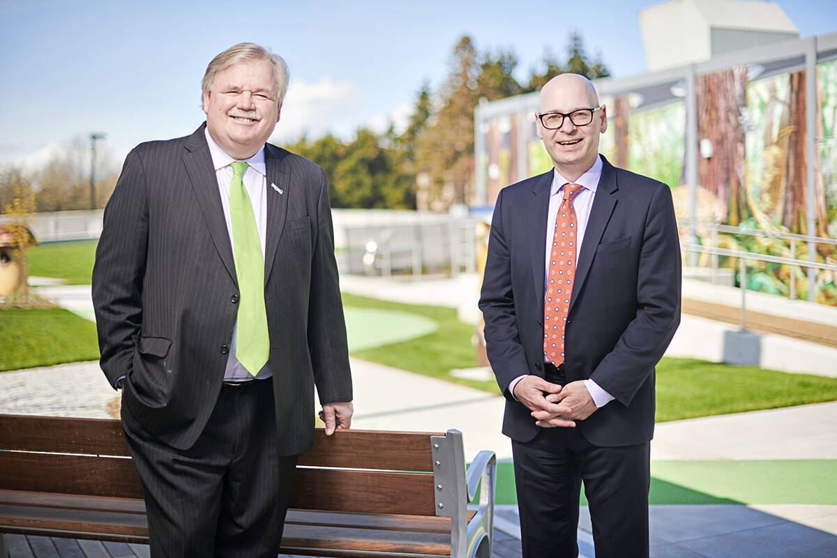 Darrell Jones (left) with BC Children's Hospital Foundation's President and CEO, Malcolm Berry. Jones, president of Save-On-Foods, will chair the hospital foundation board of directors. His appointment was announced Wednesday, Sept. 29. (Special to Langley Advance Times)